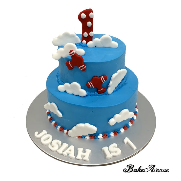 2-Tiers Cake (1st Birthday) - Clouds/Plane Design