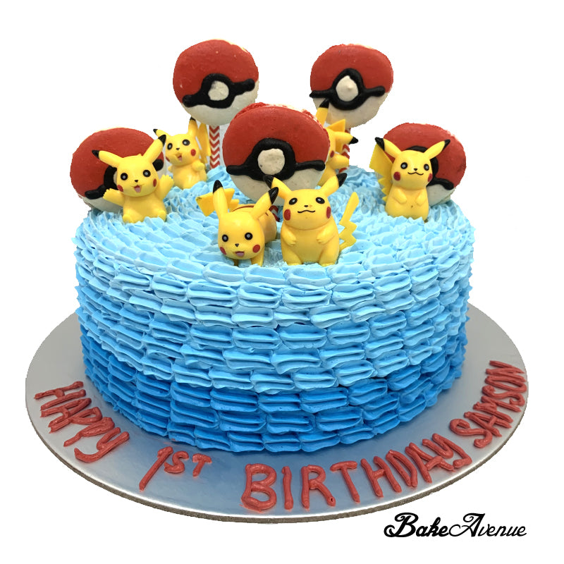 Pokemon Ombre Cake (with small Pikachu toppers and pokeball macarons)