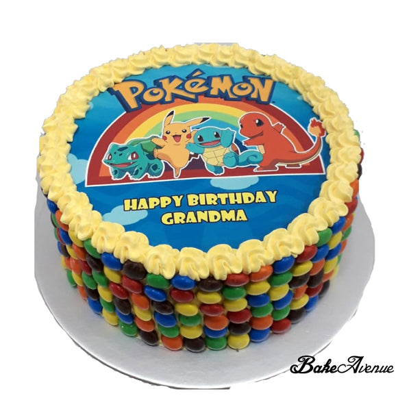 Pokemon icing image M&M Chocolate Cake