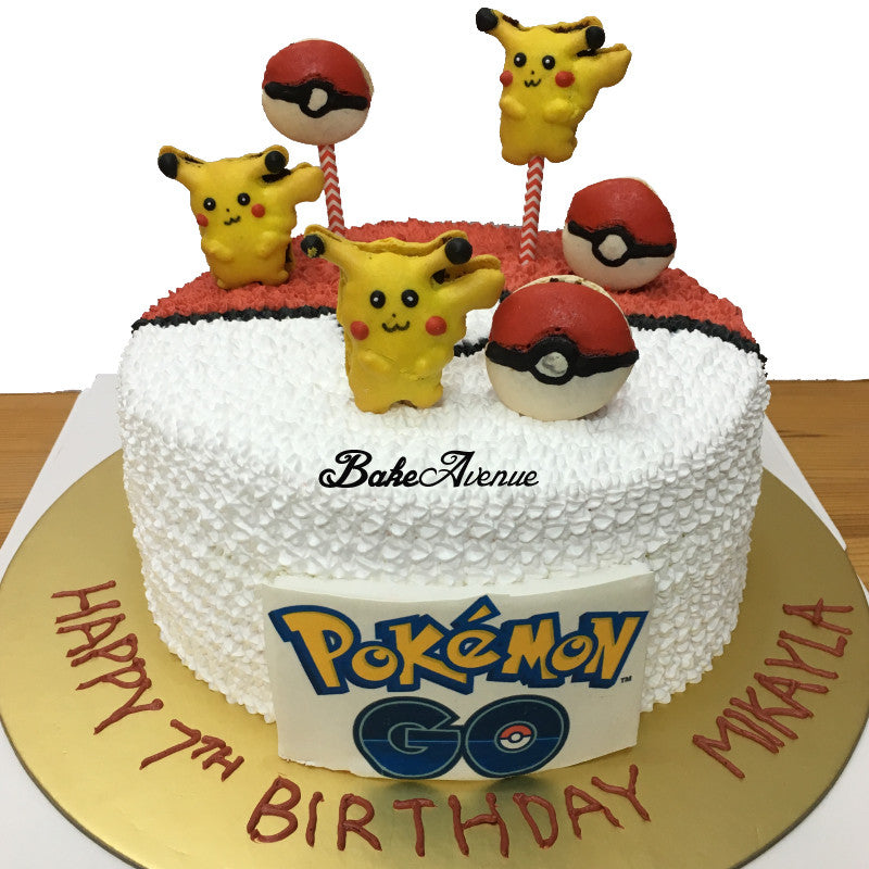 Pokeball Cake with Pokemon Macarons
