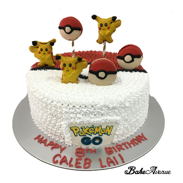 Pokemon Pokeball Cake (with small Pikachu and pokeball macarons)