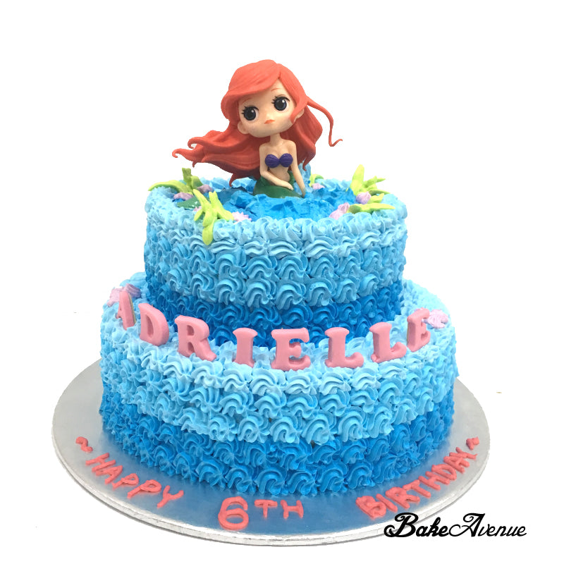 Princess Ariel/ Mermaid 2-Tiers Cake with toppers