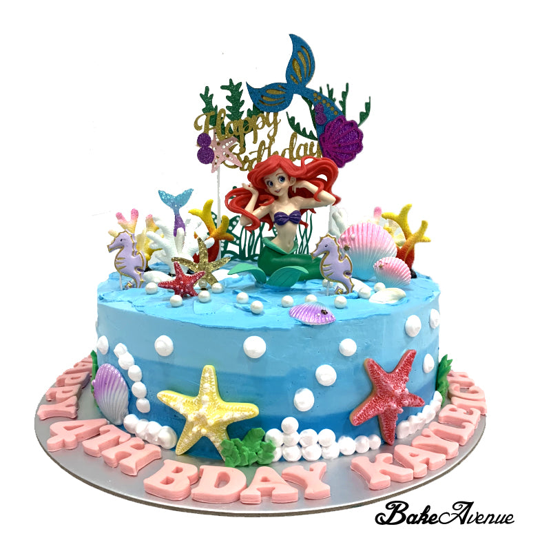 Remarkable Princess Ariel Mermaid Smooth Finish Ombre Cake With Toppers Funny Birthday Cards Online Drosicarndamsfinfo
