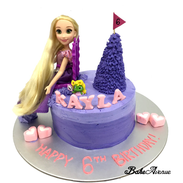Princess Rapunzel Ombre Cake with toppers