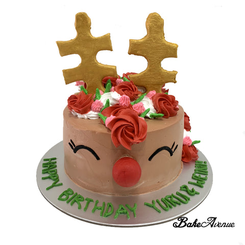 Christmas Cake - Reindeer Unicorn Cake (Design 3)