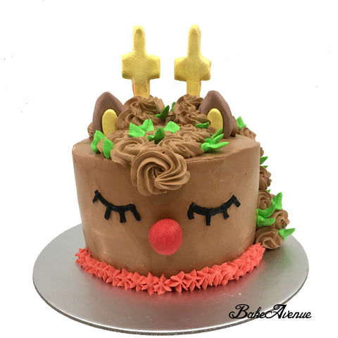 Christmas Cake - Reindeer Unicorn Cake (Design 2)