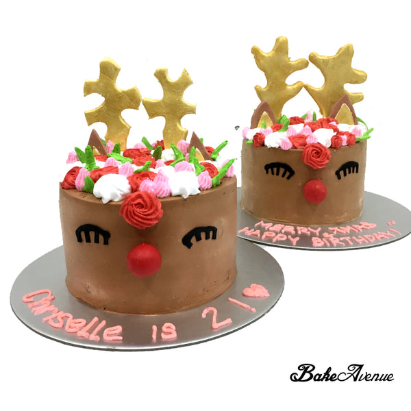 Christmas Cake - Reindeer Unicorn Cake (Design 1)