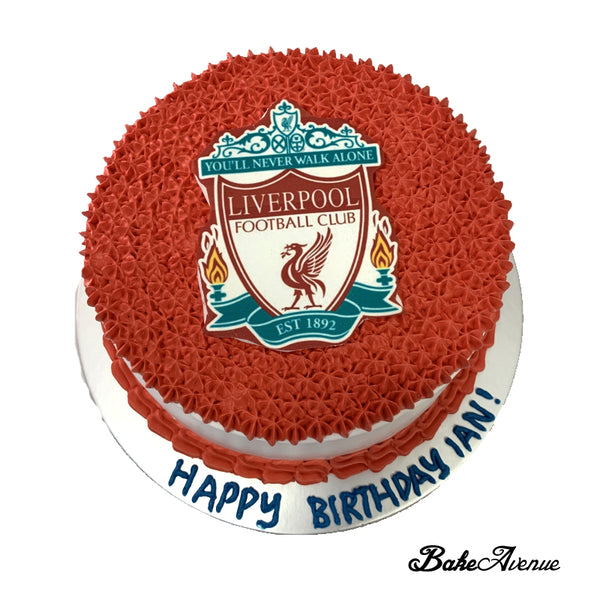 Sports Soccer - Liverpool icing image on Fondant Vanilla/Chocolate Cake