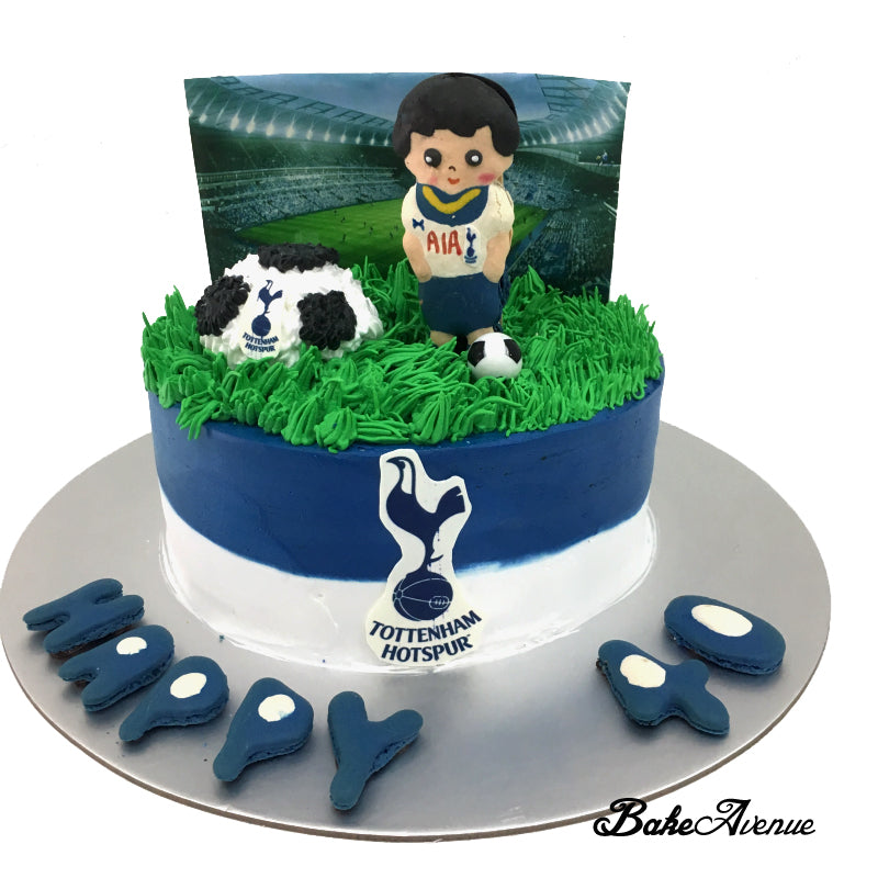 Sports Soccer Theme Cake with Macaron topper (Tottenham Hotspur Football)