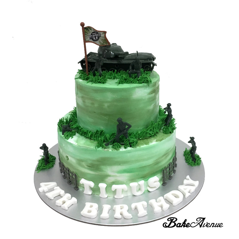 Awesome Soldier Army Theme 2 Tiers Cake Bakeavenue Funny Birthday Cards Online Aeocydamsfinfo