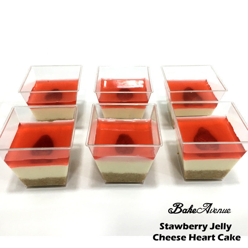 Strawberry Jelly Heart Cheese Cake (Cups)