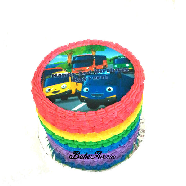 Tayo Bus Rainbow Cake