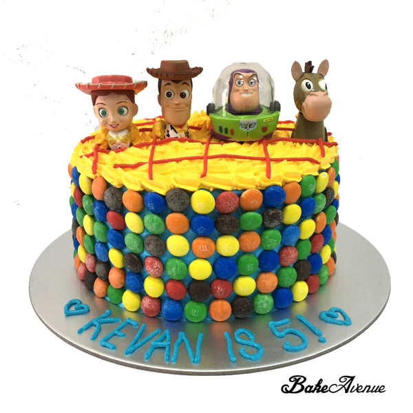 Toy Story M&M Chocolate Cake with toppers