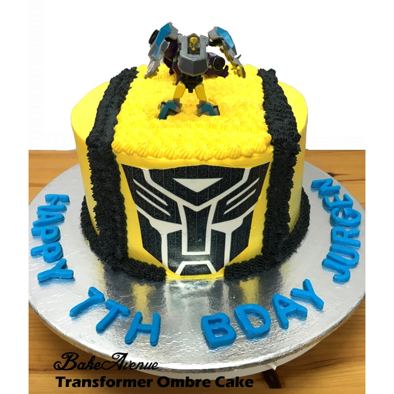 Transformer Ombre Cake with toppers (Bumble Bee)