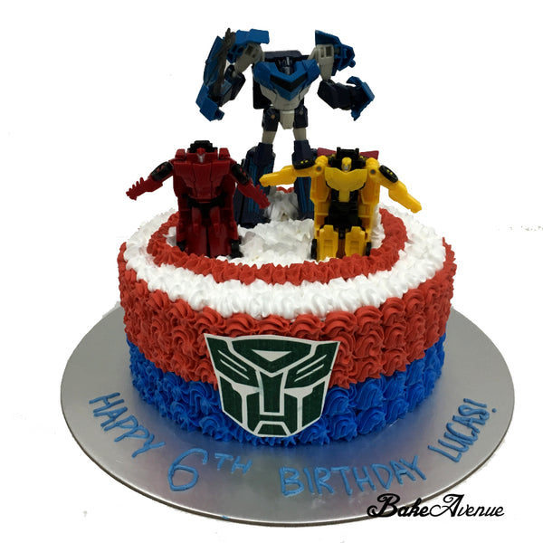 Transformer Ombre Cake with toppers