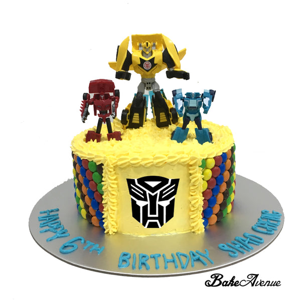 Transformer M&M Chocolate Cake with toppers
