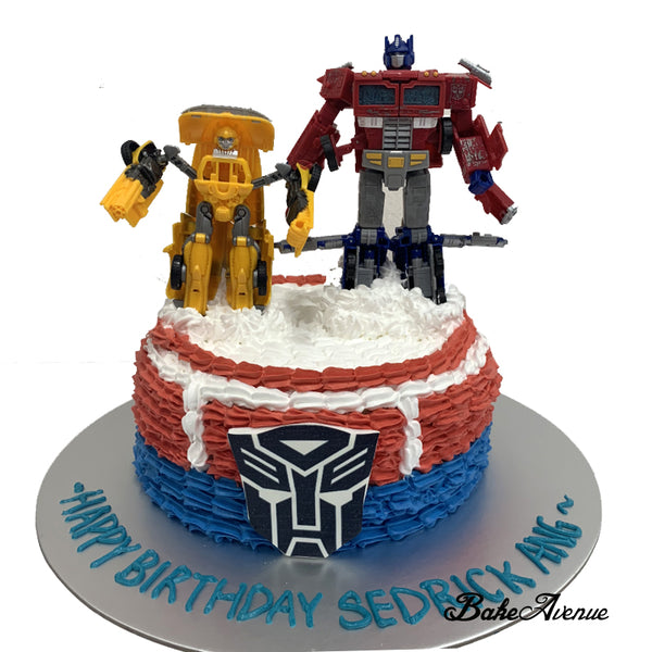 Transformer Ombre Cake with toppers (Optimus Prime)