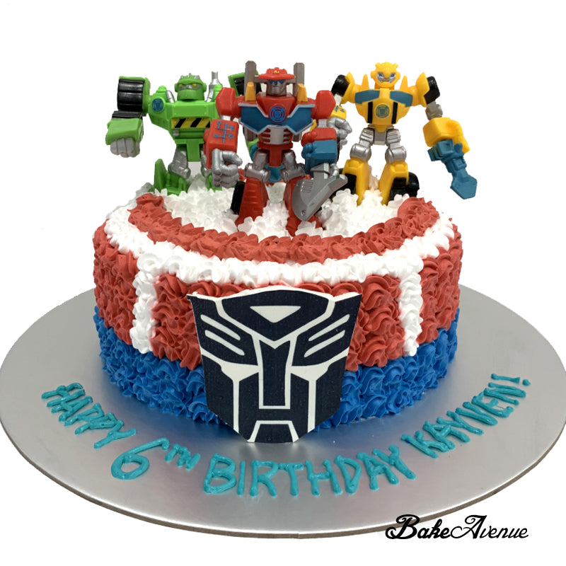 Superb Transformer Ombre Cake With Toppers Optimus Prime Bakeavenue Personalised Birthday Cards Paralily Jamesorg