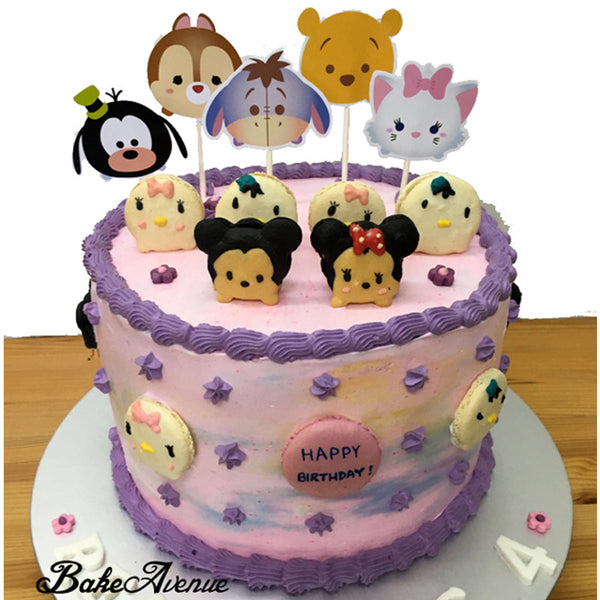 Tsum Tsum Ombre Cake with macarons