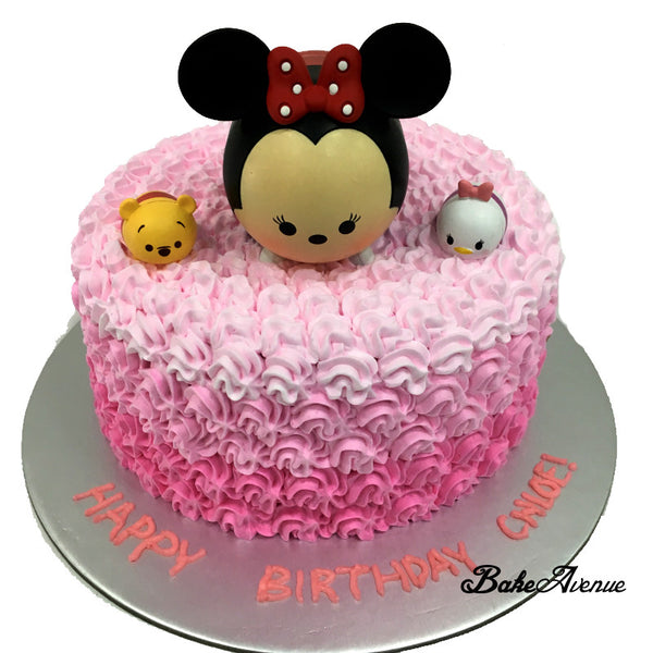 Tsum Tsum Ombre Cake with toppers Design 1