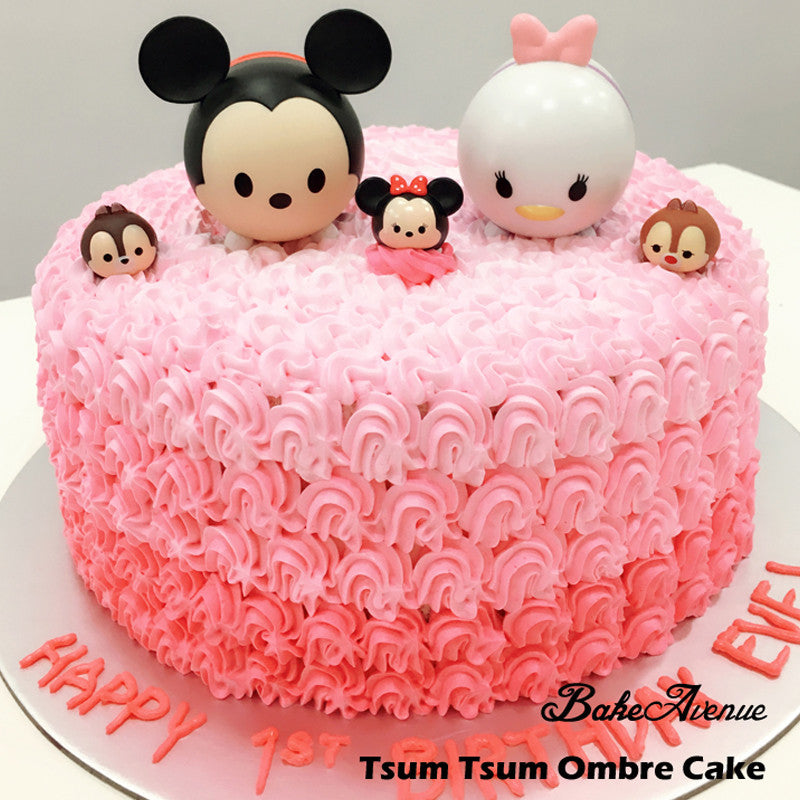Tsum Tsum Ombre Cake with toppers Design 1 – BakeAvenue