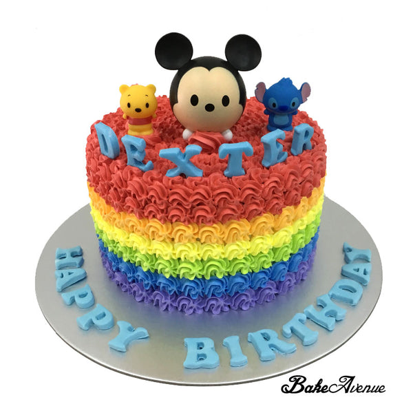 Tsum Tsum Rainbow Cake with toppers