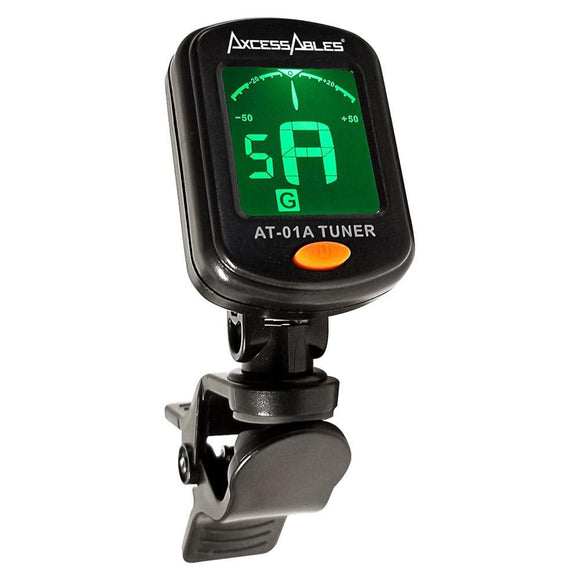 AxcessAbles AT-01A Clip-On Chromatic Tuner for Guitar / Bass / Ukulele / Violin
