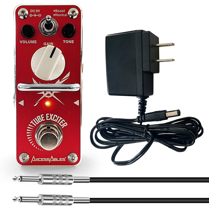 AxcessAbles TUBE EXCITER Overdrive/Distortion Guitar Pedal Bundle - Includes Power Supply and Cable