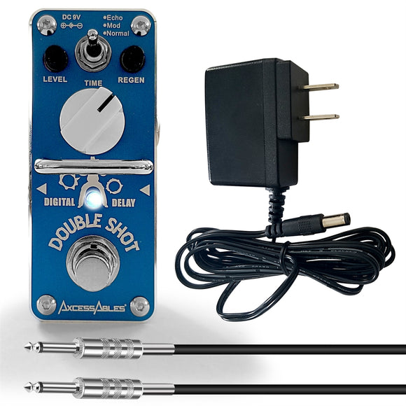 AxcessAbles DOUBLE SHOT Digital Delay Guitar Pedal Bundle - Delay / Echo / Repeat / Slap-Back