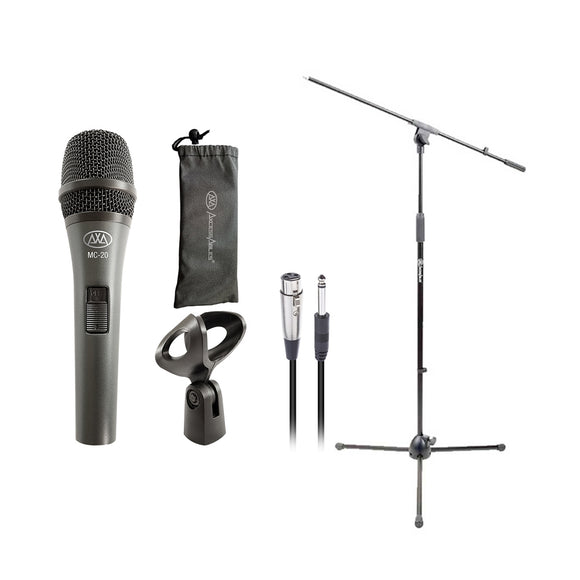 AxcessAbles MC-20 Dynamic Handheld Microphone / Mic Stand & Cable Bundle - For Live / Studio / Stage