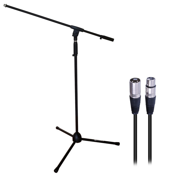 AxcessAbles MS-101 Microphone Stand with Boom Arm and XLR-XLR20 Audio Cable Bundle
