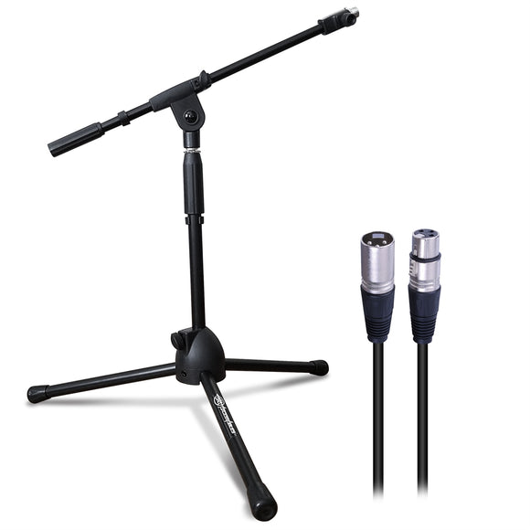 AxcessAbles MS-101L Low Profile Microphone Stand with Boom and XLR Cable Bundle