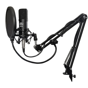 AxcessAbles MX-100 Cardioid Condenser Mic Bundle with Desktop Tripod Stand, Shock Mount, Desktop Swivel Boom Arm, Pop Filter & Cable