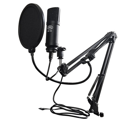 AxcessAbles MX-715 USB Condenser Microphone with Desktop Mount Swivel Boom Arm Set