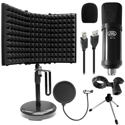 AxcessAbles MX-715 USB Condenser Microphone with SF-2 Desktop Isolation Shield Bundle