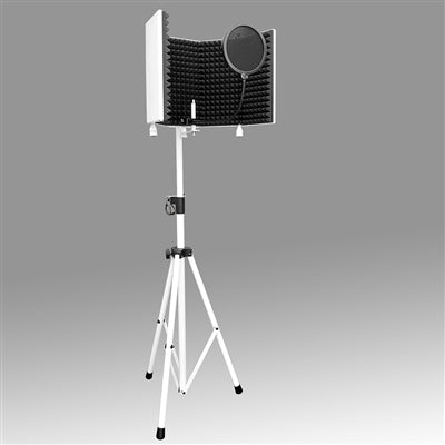 AxcessAbles SF-101KIT-W Recording Studio Microphone Isolation Shield with Stand (White)