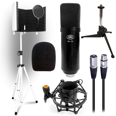 AxcessAbles SF-101KIT-W Bundle with MX-100 Condenser Mic, Tripod Stand, Desktop Tripod Stand, Isolation Shield, Shock Mount, Pop Filter and Cable