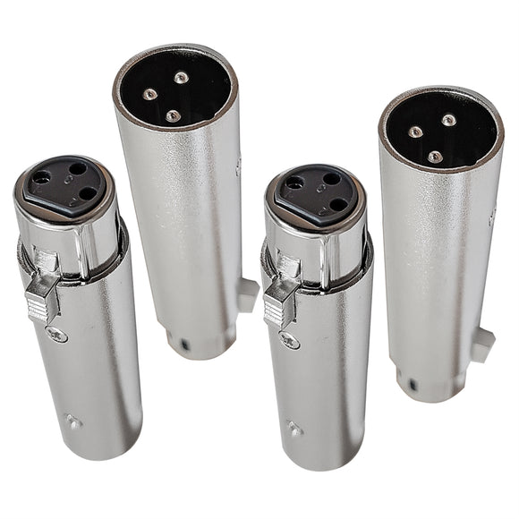 AxcessAbles XLR3F-XLR3M 3pin XLR female to Male Converter (4-Pack)