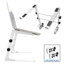 AxcessAbles LTS-02 Laptop Stand with Adjustable Height/Width and Optional Table Clamps for DJ Laptop / DJ Controller / Compact Mixer (White)
