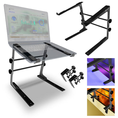 AxcessAbles LTS-02 Laptop Stand with Adjustable Height/Width and Optional Table Clamps for DJ Laptop / DJ Controller / Compact Mixer (Black)
