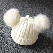 Load image into Gallery viewer, Double Pompom Baby Beanie
