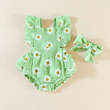 Load image into Gallery viewer, Floral Romper Set, Light green