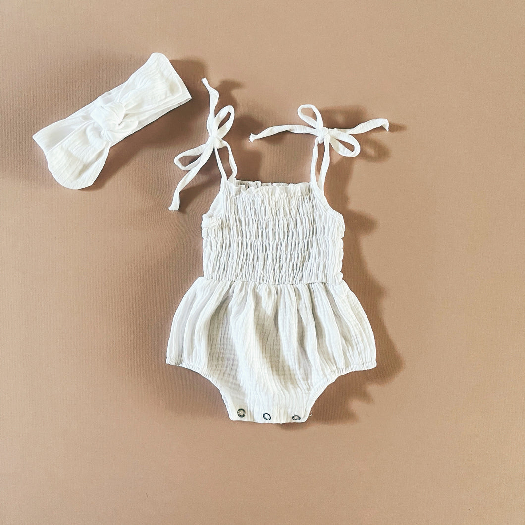Muslin Romper Set, White