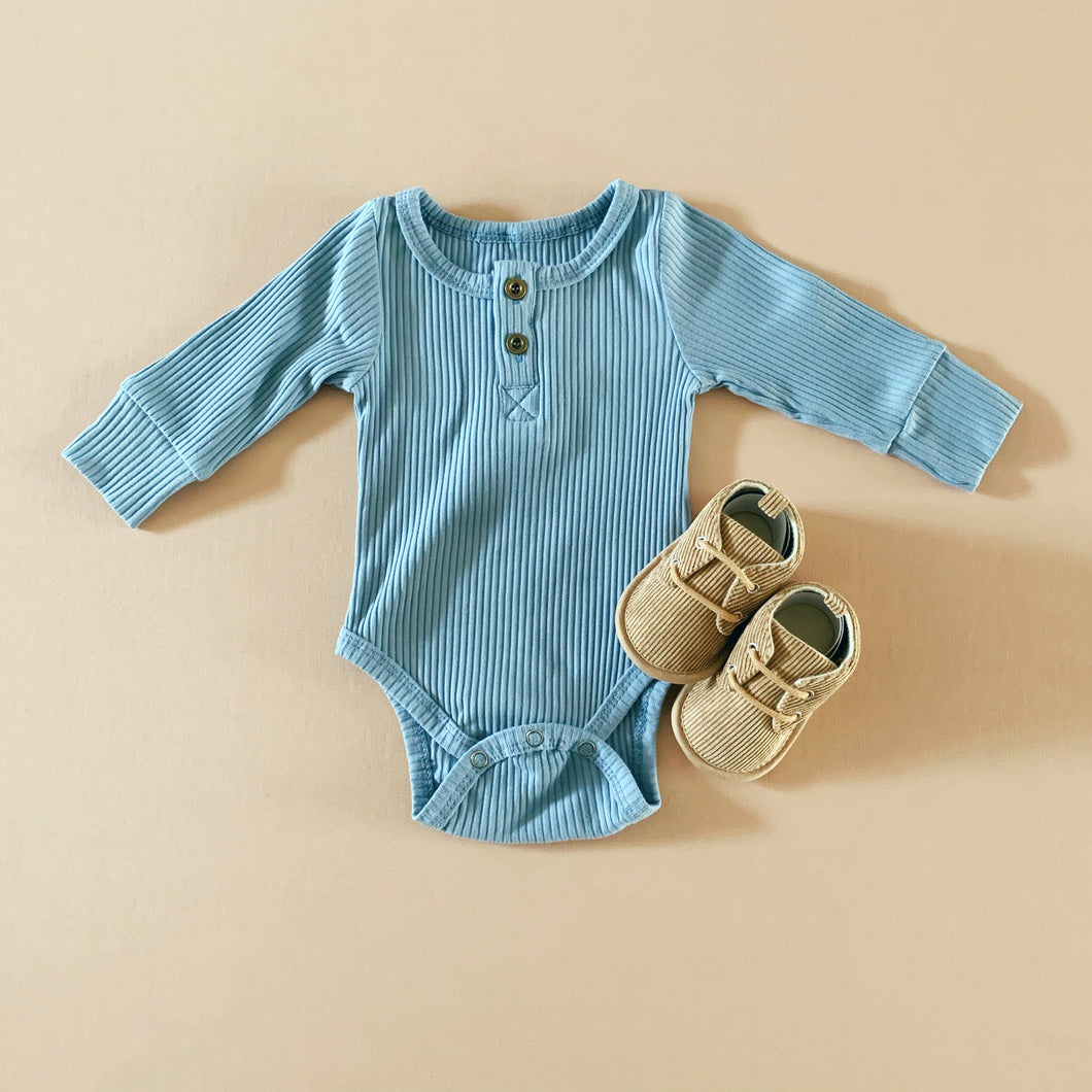 Ribbed  Cotton Bodysuit in Blue