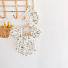 Load image into Gallery viewer, Floral Romper & Bonnet Set