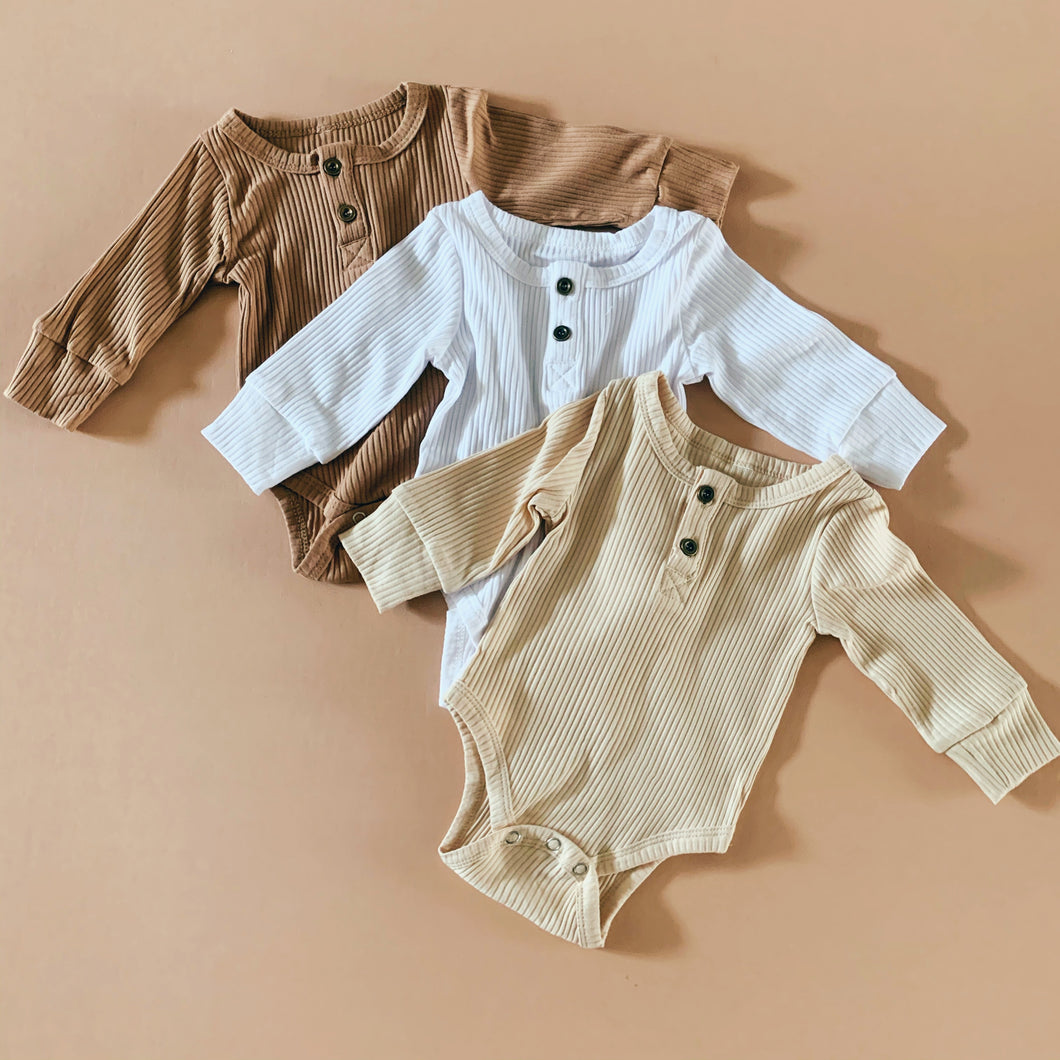 Ribbed  Cotton Bodysuit in Oatmeal