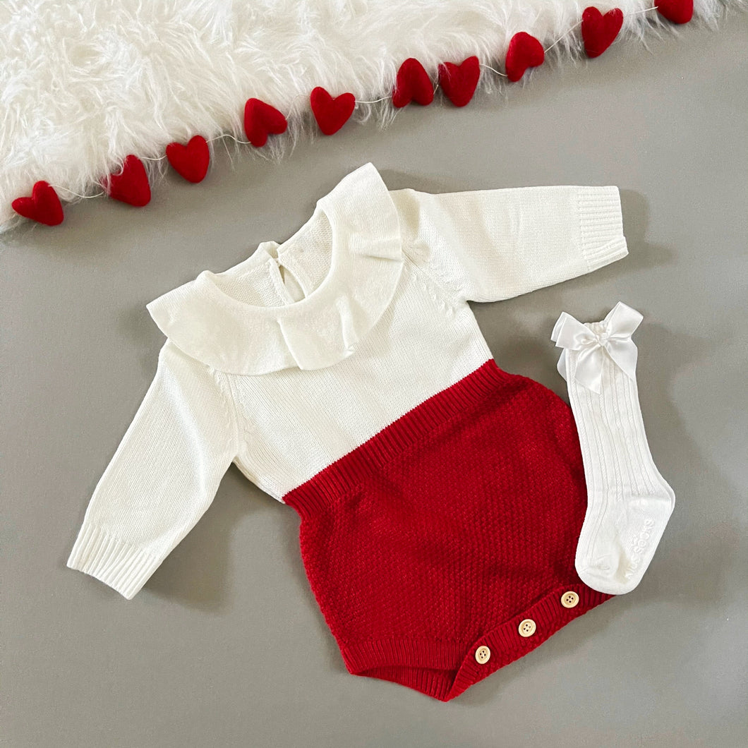 Ruffled Collar Knit Romper, Red