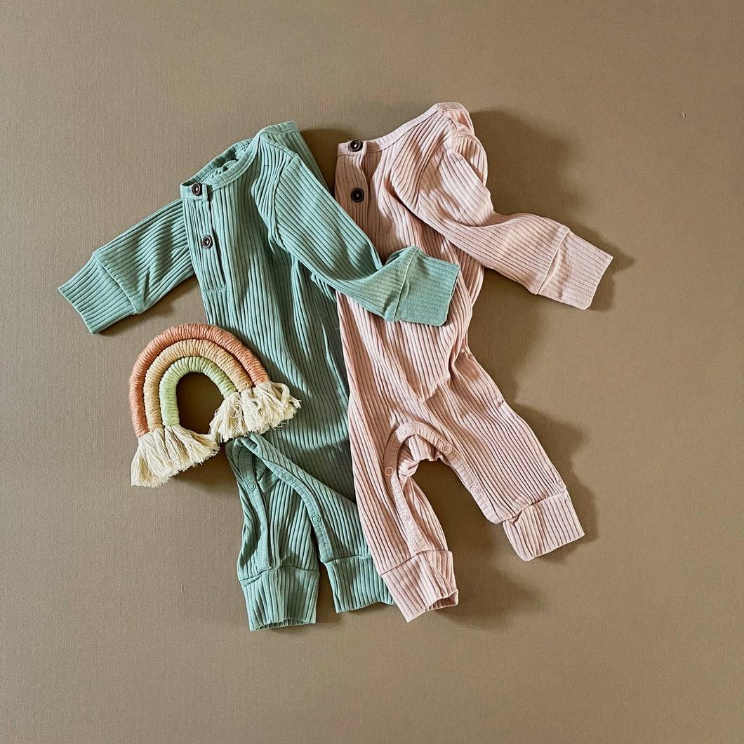 Ribbed Baby Jumpsuit in Mint