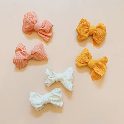 Waffle Pig Tail Bows-Set of Two