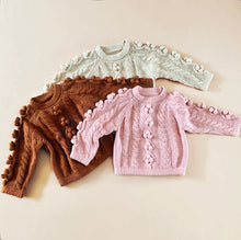 Load image into Gallery viewer, Baby Cable Knit Pompom Sweater, Pink